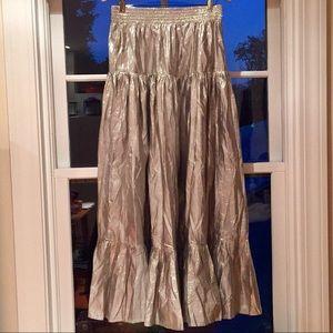 Calypso Silver Metallic Silk Skirt
